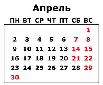 Какие праздники будут в апреле 2018 года в России: календарь рабочих и выходных