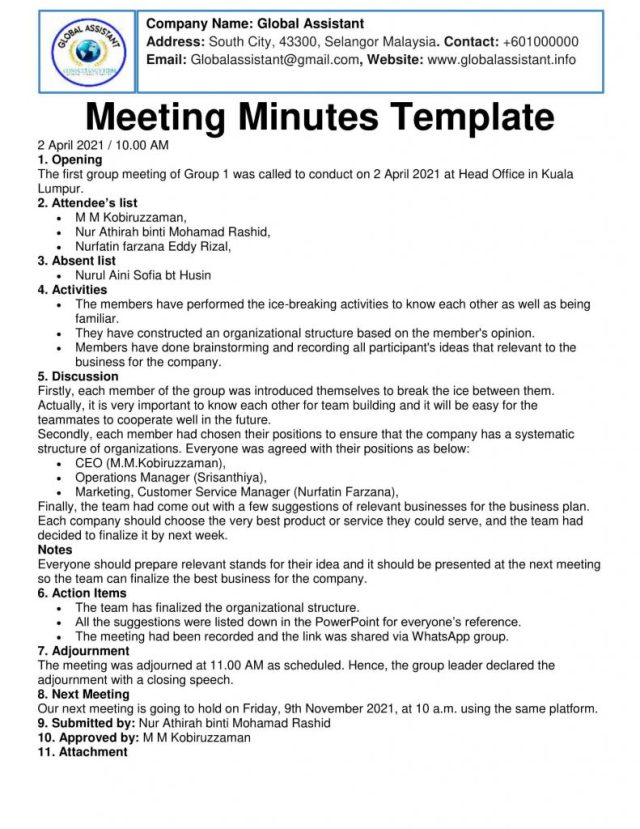 Elements of Minutes of Meeting, Parts of Simple Meeting Minutes Format