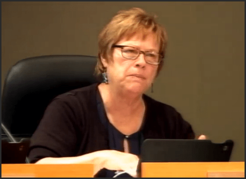 Councillor Diane Brennan at the July 11 council meeting. Asked about tabulated survey results.