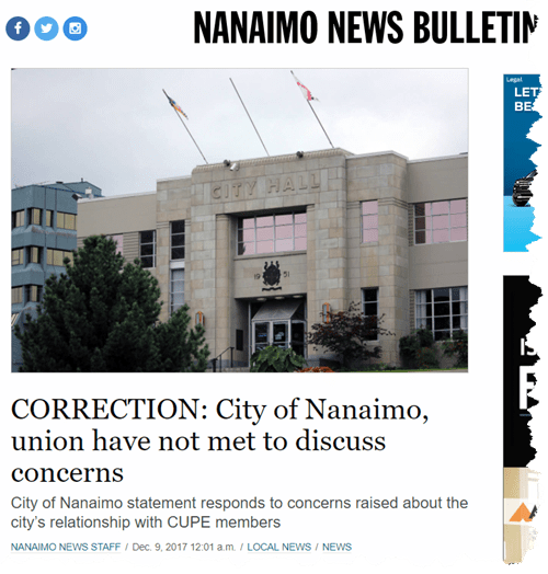 Nanaimo News Bulletin Correction