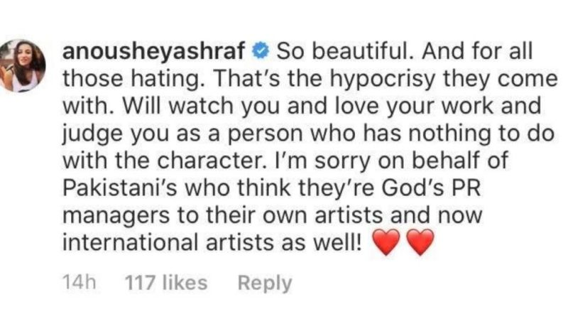 Anushy Asraf comment on Esra