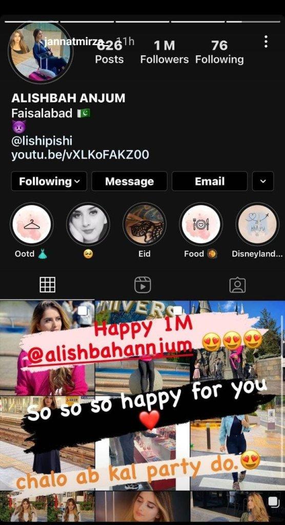 Alishbah Anjum completed 1 million instagram followers