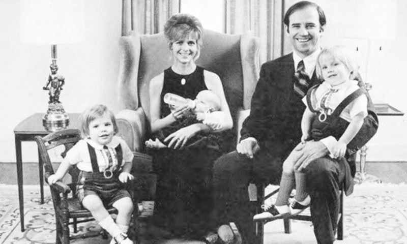 Joe Biden with his first wife and kids