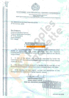 EFCC goes after Bola Tinubu for corruption writes CCB for