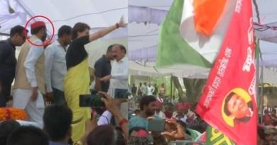 प्रियंका गांधी की सभा में सपा कार्यकर्ता