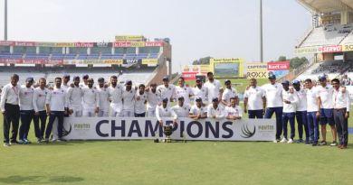 भारतीय क्रिकेट टीम ने रांची टेस्ट में दक्षिण अफ्रीका को पारी और 202 रनों से हरा दिया। इसी के साथ ही तीन मैचों की सीरीज में भारत ने द. अफ्रीका का क्लीन स्वीप कर दिया है।