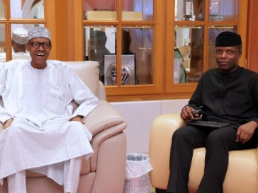 Photo: This Day Osinbajo meets with Buhari in London.
