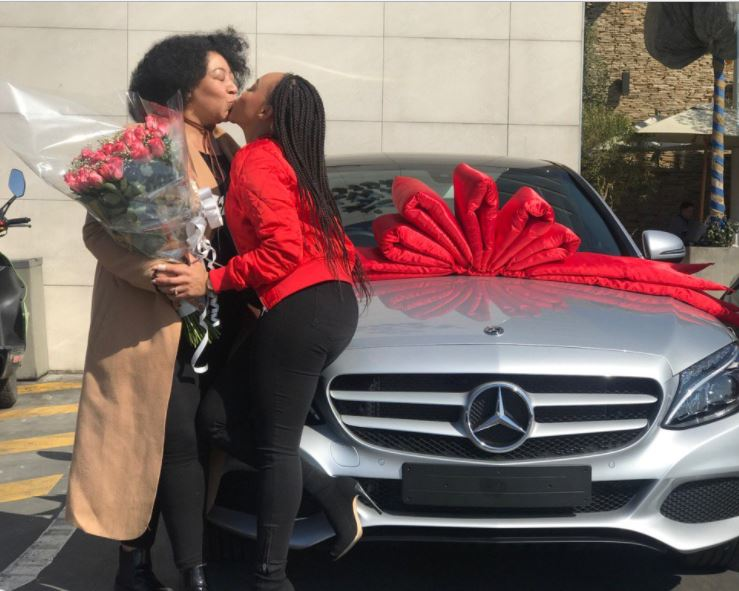 South African Actress Thando Thabethe Buys Mom A Benz & Mom Kisses Her Daughter In Excitement