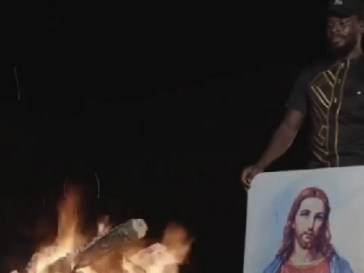 Painting Of Jesus Christ burnt