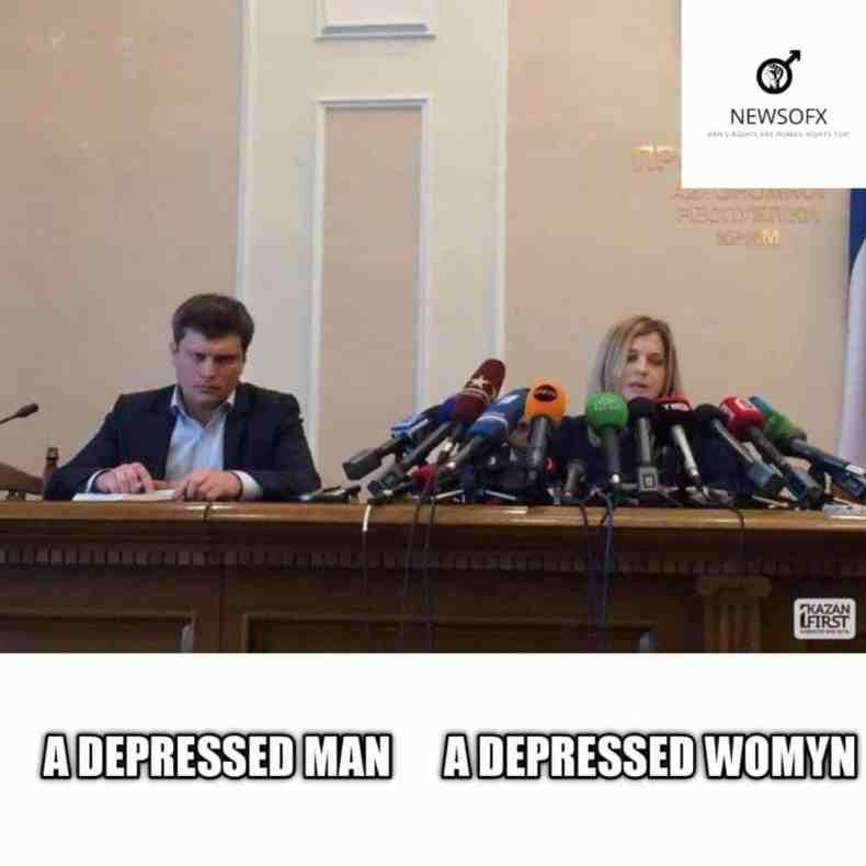 a depressed man a depressed womyn meme