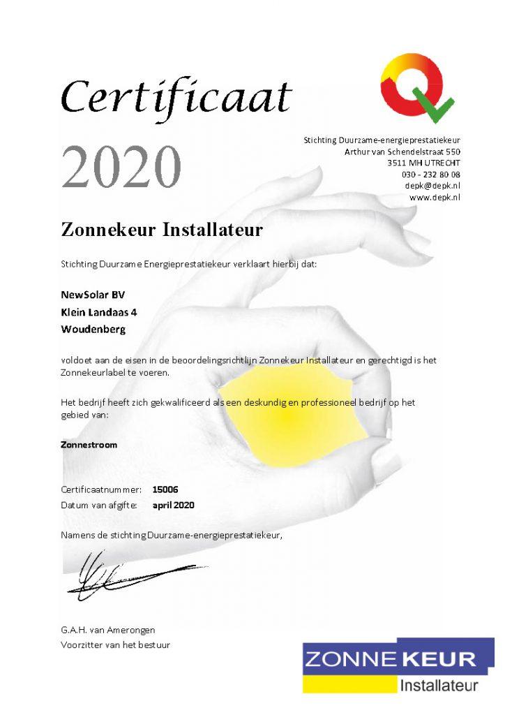 Zonnekeur certificaat NewSolar