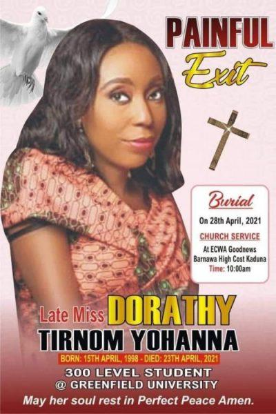 Obituary poster for Dorathy Yohanna