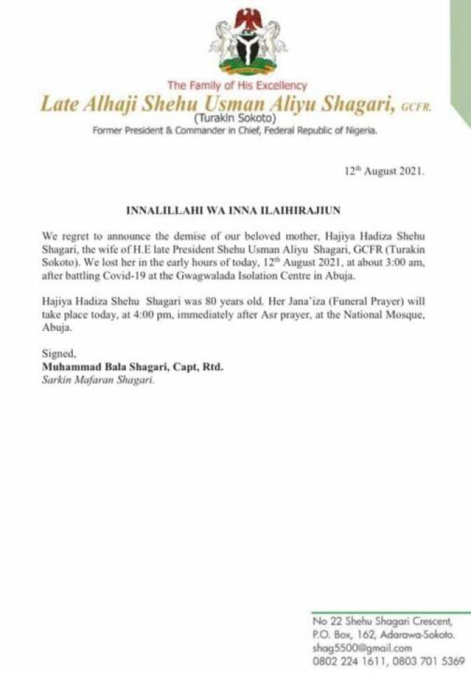 Hadiza Shagari Is Dead