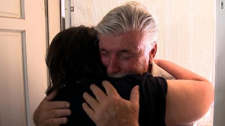 Rosemarie Melanson embraces Don Matthews as he arrives at her house last week in Las Vegas.