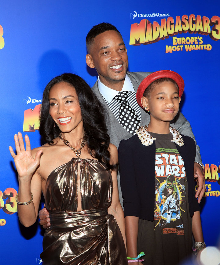 Jada Pinkett Smith, Will Smith and Willow Smith pictured together in 2012.