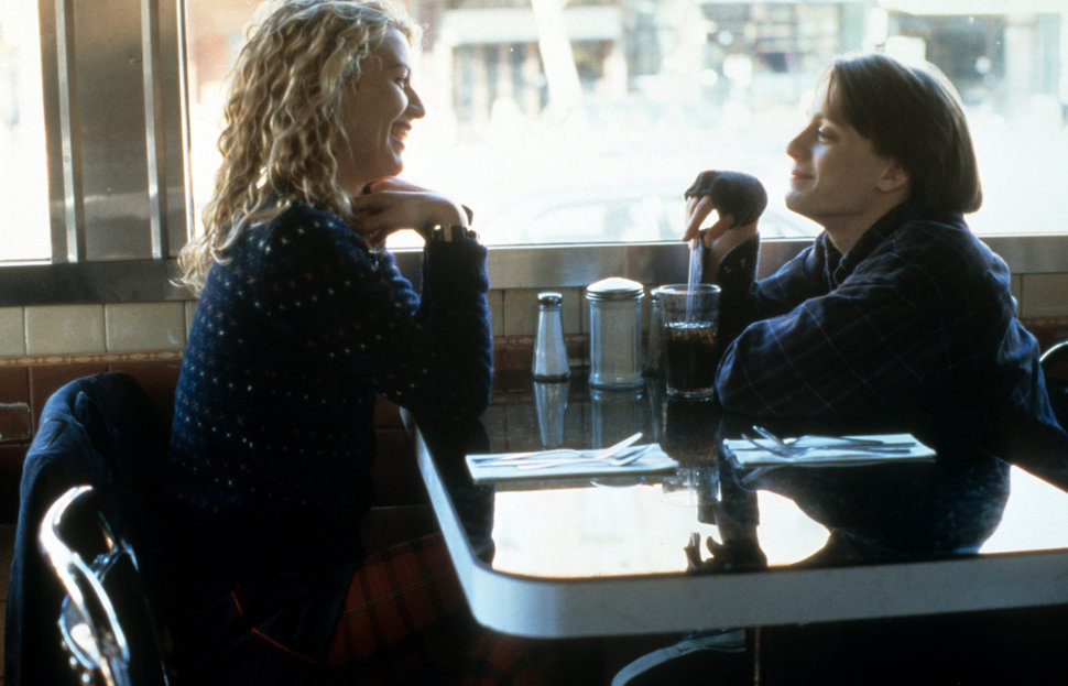"Claire Danes and Kieran Culkin talk at a coffee shop for a scene from ""Igby Goes Down."" Culkin entered an existential crisis"