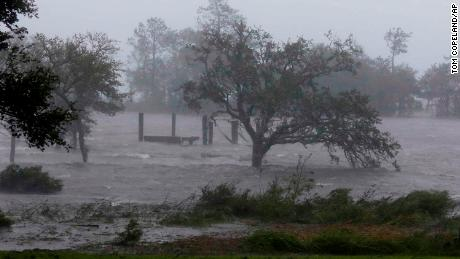 High winds and storm surge from Hurricane Florence hits Swansboro, North Carolina, on Friday morning.
