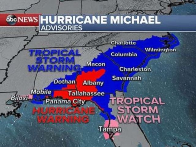 PHOTO: Hurricane Michael advisories, Oct. 10, 2018.