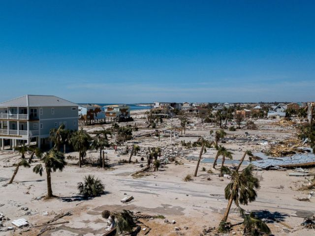 PHOTO: This aerial photo shows debris and destruction in Mexico Beach, Fla., Friday, Oct. 12, 2018, after Hurricane Michael went through the area on Wednesday.