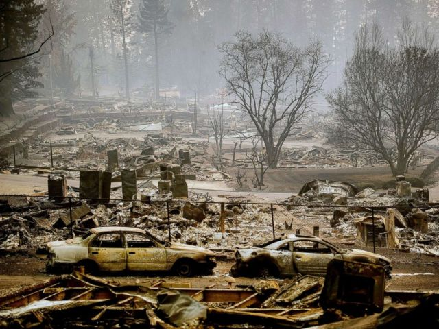 PHOTO: Homes leveled by the Camp Fire line a development on Edgewood Lane in Paradise, Calif., Nov. 12, 2018.