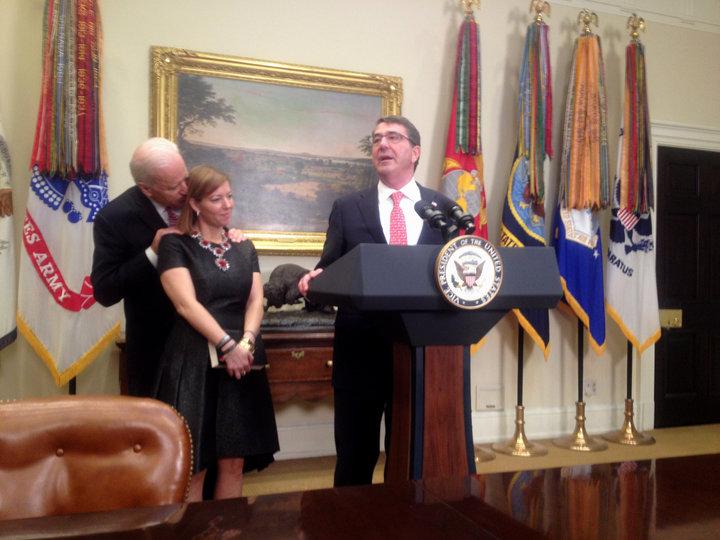 Joe Biden stood close behind the wife of Defense Secretary Ash Carter at Carter's swearing-in ceremonyin 2015.