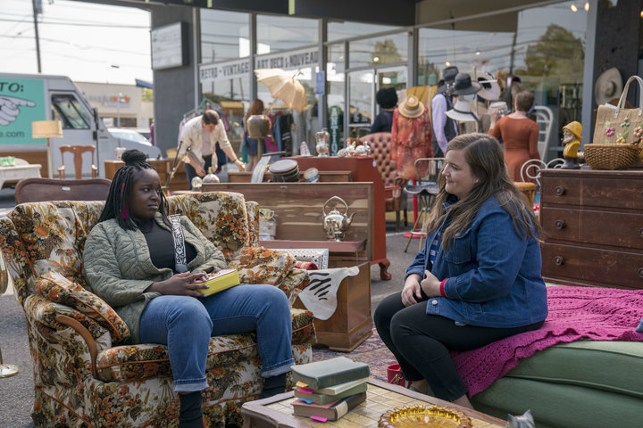 "Fran (Lolly Adefope) and her best friend and roommate Annie (Aidy Bryant), stars of the new Hulu show ""Shrill."""