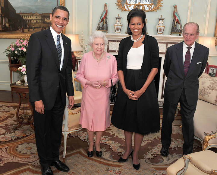 President Barack Obama and the first lady pose with Queen Elizabeth and Prince Philip during an audience at Buckingham Palace