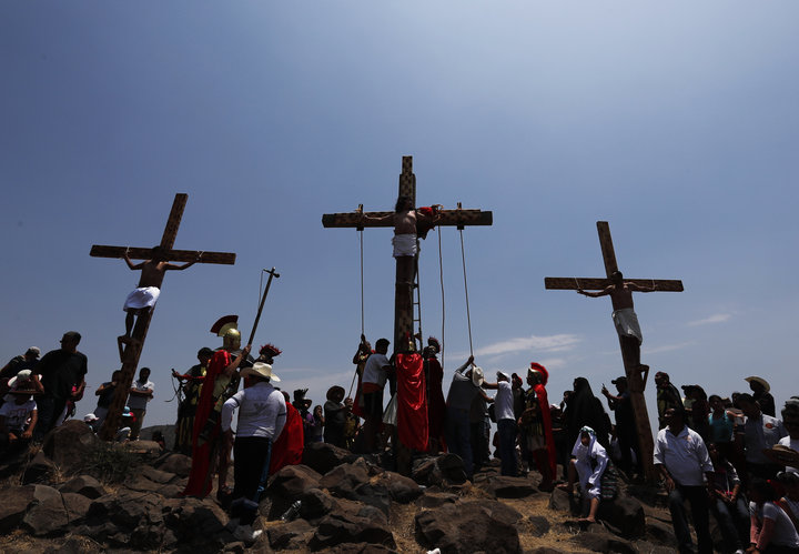 Crosses set up on a hill outside the village of San Mateo, Tepotzotlán, on Good Friday.