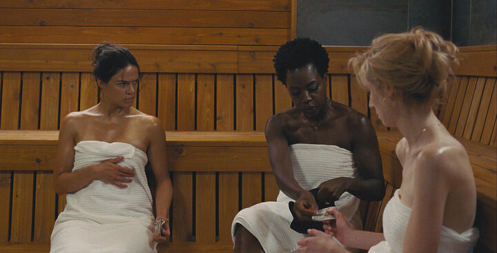 "Michelle Rodriguez, Davis and Elizabeth Debicki in ""Widows."""
