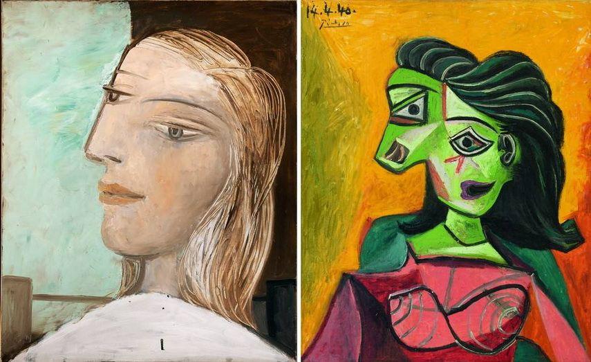 Left Pablo Picasso - Portrait de femme profil Right Pablo Picasso - Buste de femme
