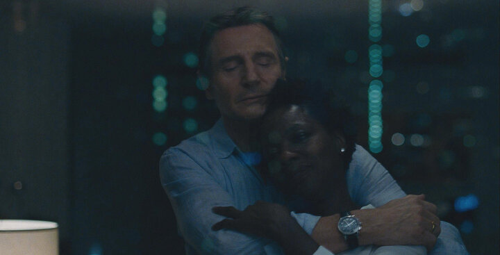 "Liam Neeson and Davis in ""Widows."""