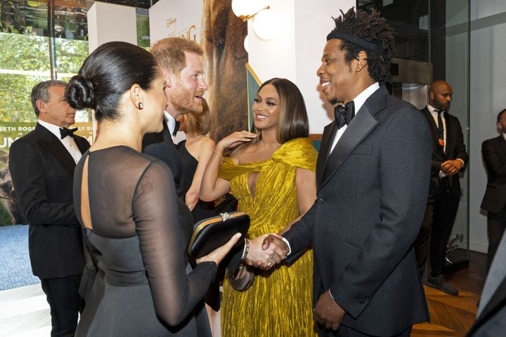 """Prince Harry joins the conversation at the European premiere of """"The Lion King"""" in London on Sunday."""