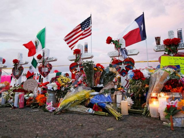 PHOTO: Flags fly over crosses at a makeshift memorial near the scene of a mass shooting at a shopping complex Tuesday, Aug. 6, 2019, in El Paso, Texas.