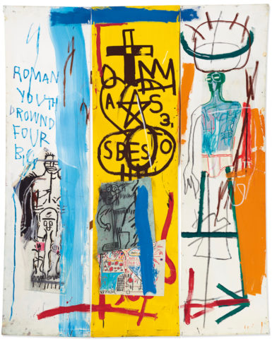 Jean-Michel Basquiat's 1982 collage-on-canvas 'Four Big' sold $10.61 million at Christie's London.