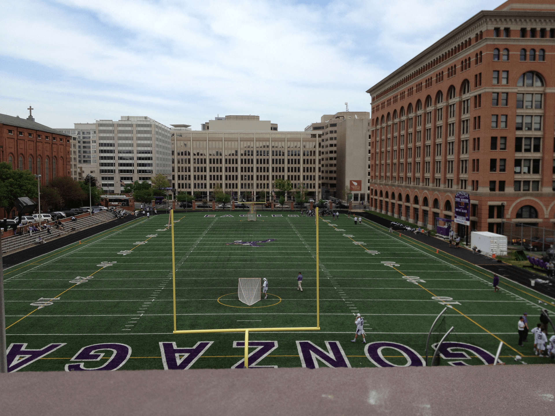 The view of Gonzaga High School from the private terrace of one of the apartments.