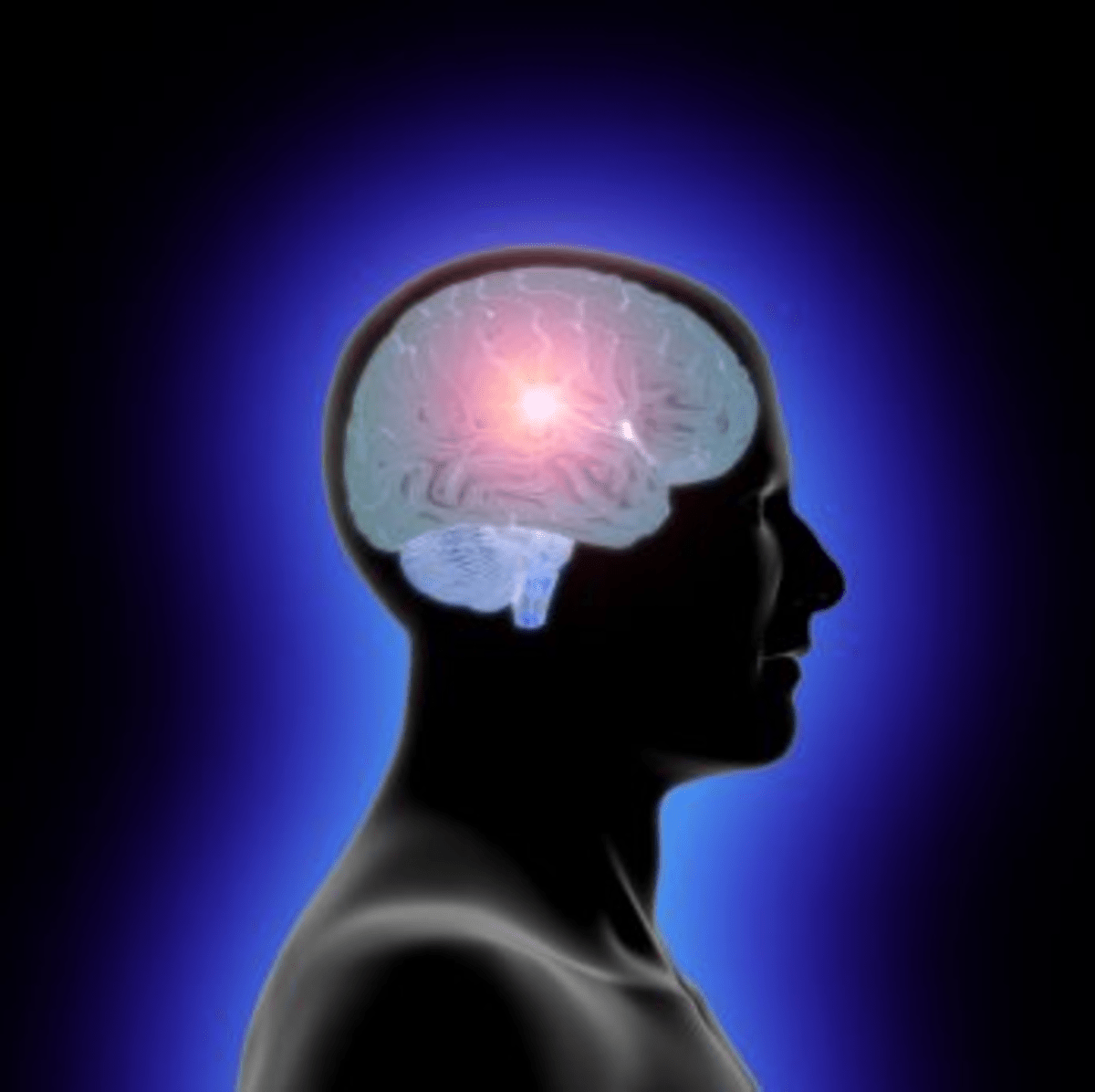 Profile of a man's head and a translucent brain with an inner glow