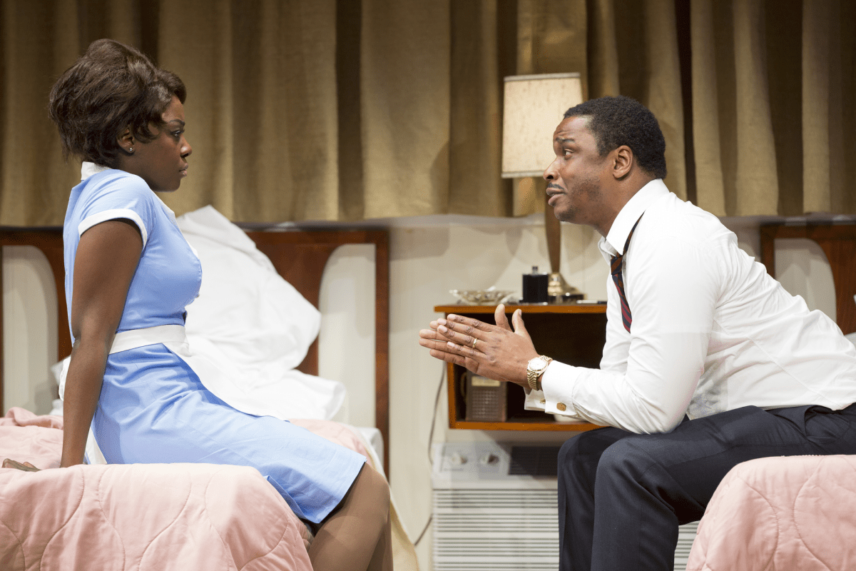 (L-R) Joaquina Kalukango as Camae and Bowman Wright as Dr. Martin Luther King, Jr. in Arena Stage at the Mead Center for American Theater's production of The Mountaintop March 29-May 12, 2013. Photo by Scott Suchman.