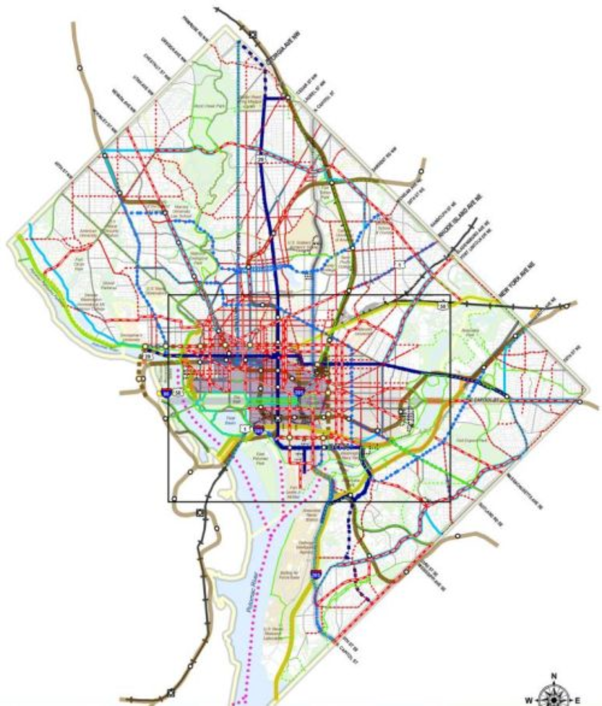 A map of the planned citywide transit network, including bike lanes (red), streetcars (dark blue), high-capacity transit lines (light blue), and roads (gray).