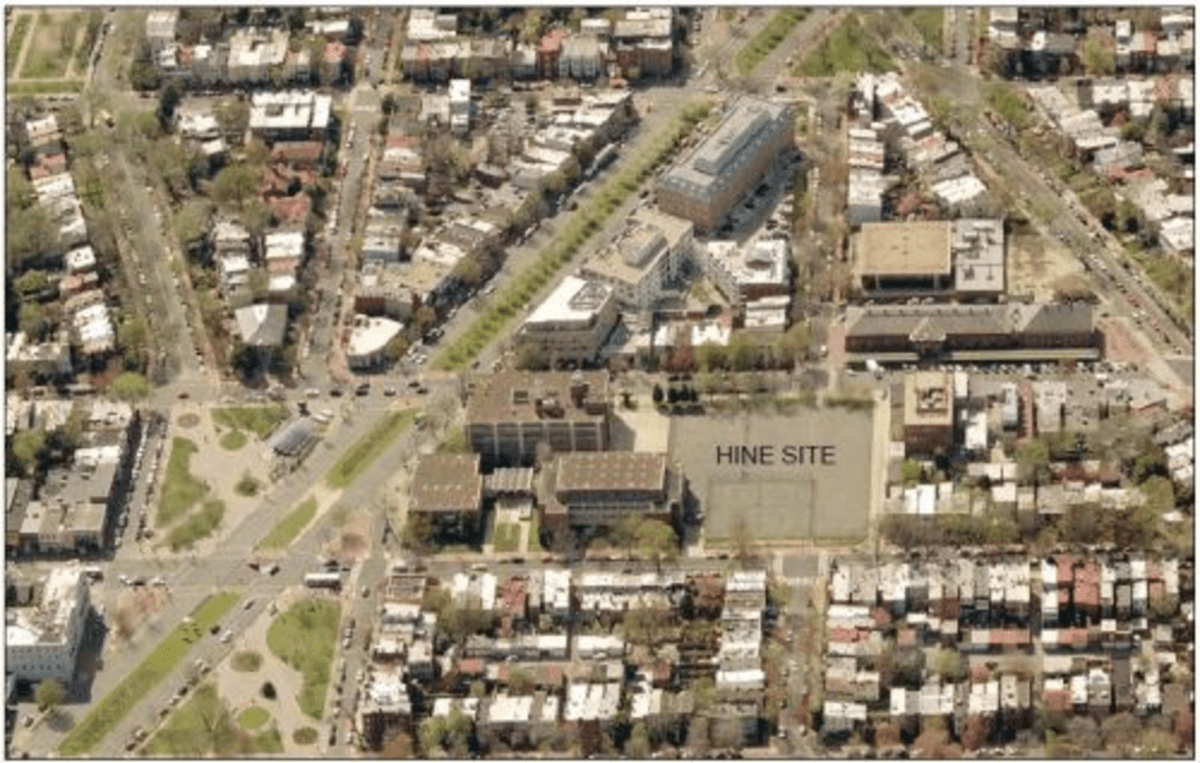 An aerial view of the Hine site, with Pennsylvania Avenue SE cutting diagonally across the left side.