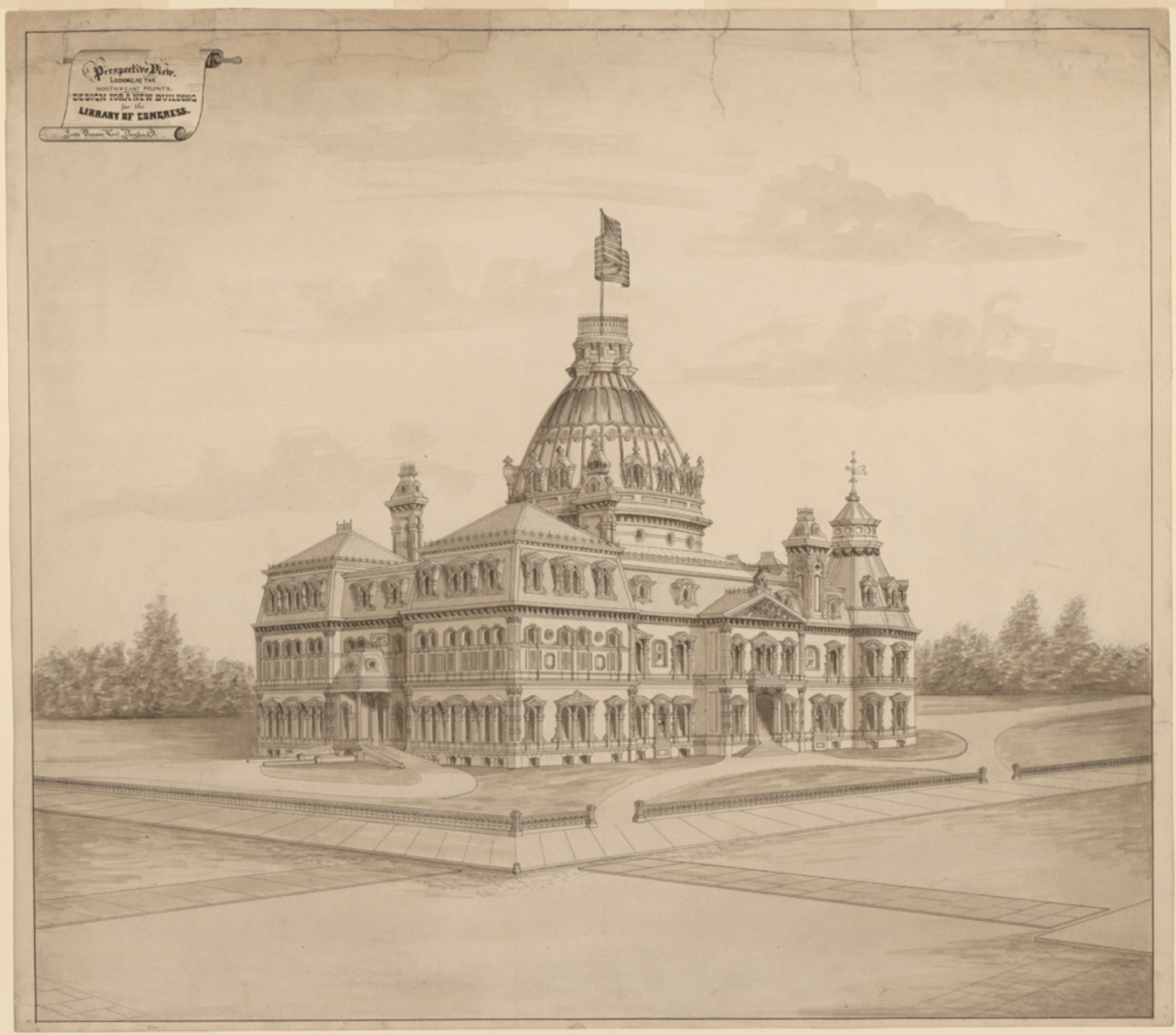 Competition entry for the Library of Congress by Leon Beaver, 1873. Credit: Library of Congress, Prints and Photographs Division, LC-DIG-ppmsca-31512