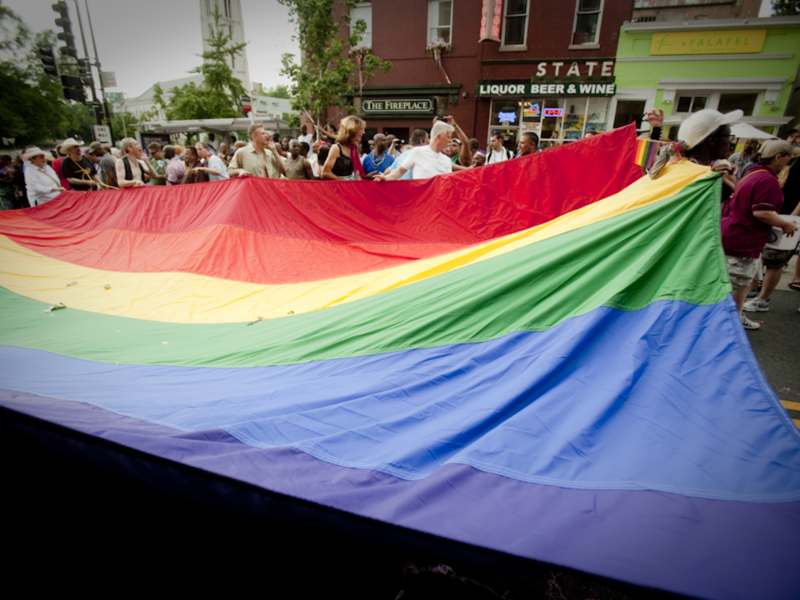 A rainbow flag at the Capital Pride Parade