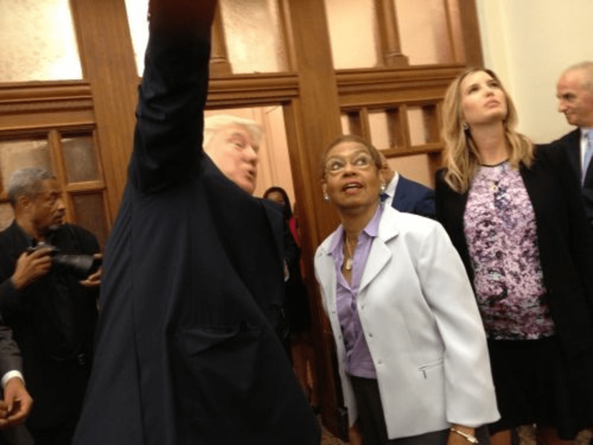 It's gonna be yooooge: Trump tells Del. Eleanor Holmes Norton about his plans for the hotel.