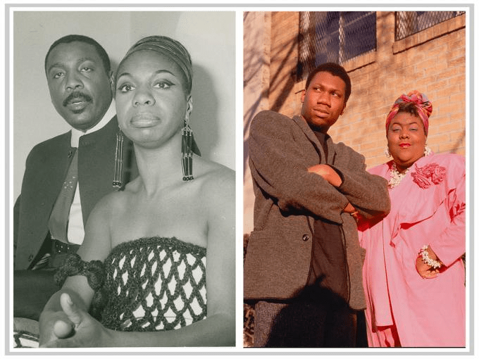 (L) Nina Simone and Dick Gregory, 1968, by George Ball, Gift from the Collection of Andy Stroud (R) KRS-1 & Ms. Melodie, 1988, by Janette Beckman, © Janette Beckman