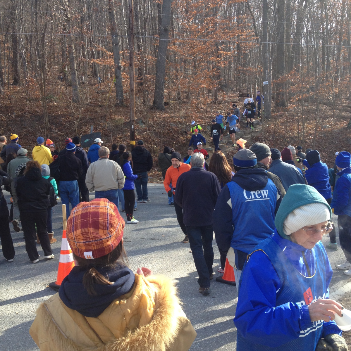 Spectators and volunteers at the first viewing area of the 2013 JFK 50 Mile race
