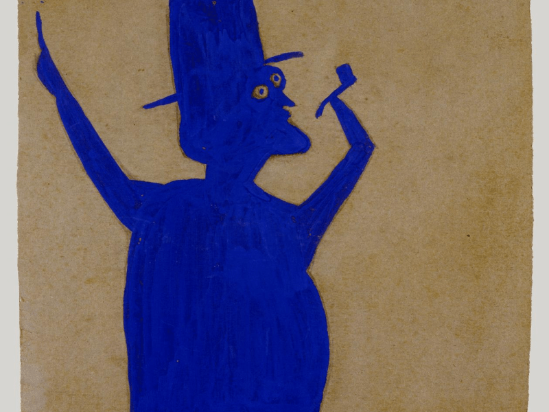 """""""Truncated Blue Man with Pipe"""" by Bill Traylor (1939-1942)"""