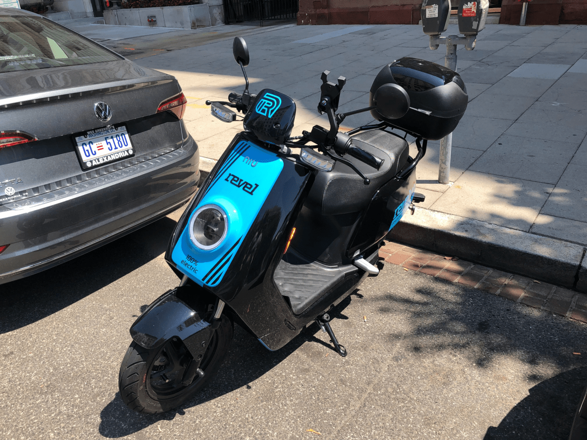 An appropriately parked Revel moped