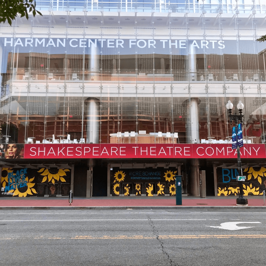 A mural artists created in front of Sidney Harman Hall