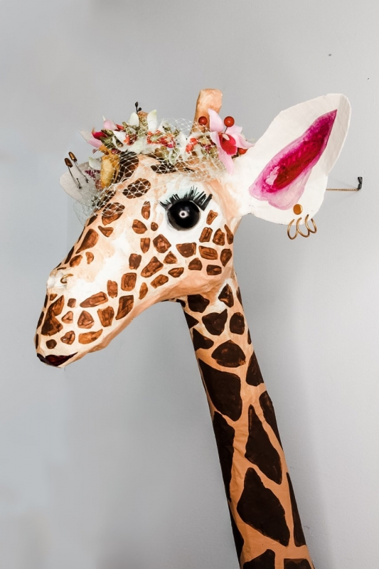 A giraffe head is an example of Kelly Wahl's vegan taxidermy