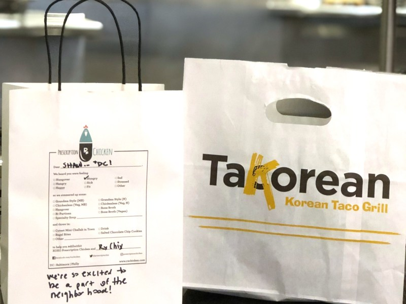 Takeout from Prescription Chicken and TaKorean. The two restaurants have collaborated on a new virtual food hall in Shaw.