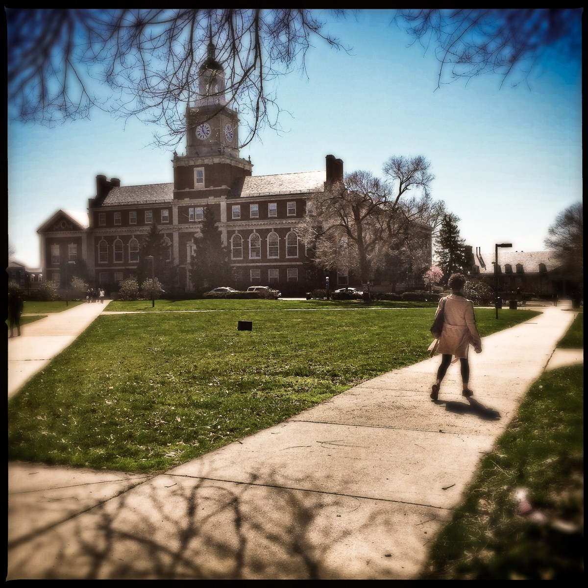 Person walking on Howard University campus